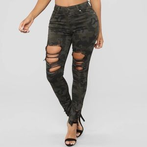 Fashion Nova Distressed Camo Jeans